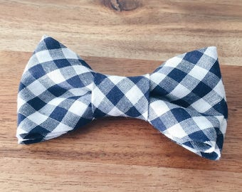 Navy Gingham Bow Tie - Infant