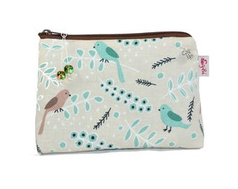small cosmetic bag birds make-up bag beige Brown turquoise