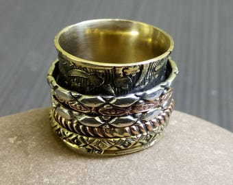 Brass Spinner rings | Indian ethnic rings | Hand crafted tribal rings | Girls thumb rings | Five spinner rings | Indian finger band | R22