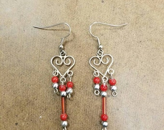 Heart chandelier red earrings