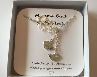 Personalized bird and branch necklace