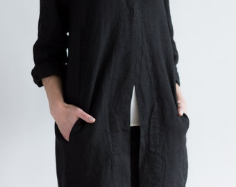 Black Linen Cocoon Style Coat with Pockets