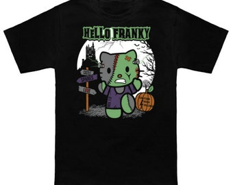 HELLO FRANKY Hello Kitty Mash-Up Sanrio Frankenstein Geek T-Shirt Nerd Horror Anime Shirt