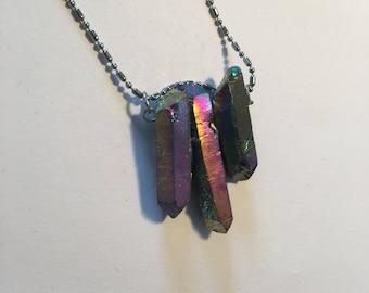 Stunning Flame Aura Quartz simple trio necklace