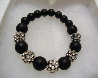 Black Onyx Beaded Bracelet, Crystal Disco Ball Beads, Sparkly Beaded Bracelet, Stretch Bracelet, Black Onyx Beads, Pave Disco Ball Beads