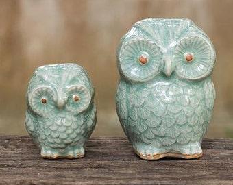 Little Light Blue Owl Figurines (Pair) - Handmade Celadon Ceramic from Thailand