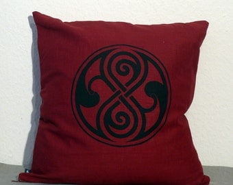 Seal of Rassilon, Doctor Who, Linen 50x 50 cm Pillow Cover, in Black, Natural or Burgundy - (Pillow Not Included)