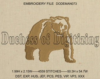 Bear Embroidery Design, Kodiak Bear Embroidery Design, Bear Embroidery file,  Kodiak Bear Embroidery File, DODEMAN073