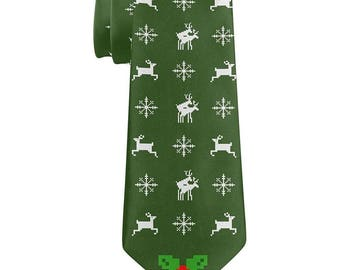 Jumping Reindeer All Over Green Neck Tie