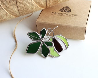 Brooch Chestnut, Stained glass brooch Chestnut, Brooch of glass Chestnut, Stained glass decorations, Fancy decorations,Jewelry made of glass