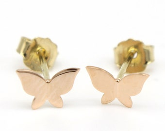 14k Solid Yellow Gold Stick Earrings 7603 Charming Butterfly Design Lovely