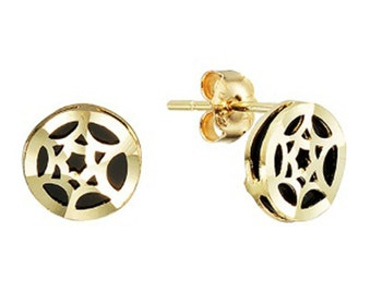 14k Solid Yellow Gold Stud Earrings Squila 7766 Charming Onyx Design Lovely