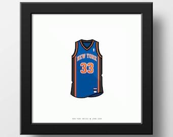 New York Knicks 1999 Patrick Ewing Jersey Illustration Classic Vintage