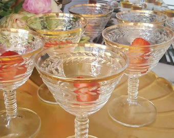 8 Gold Rimmed Party Glasses
