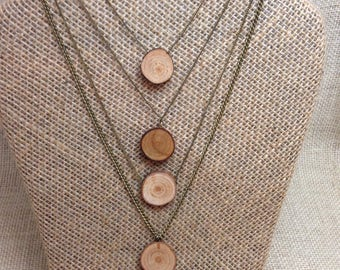 Sliced wood diffuser necklace