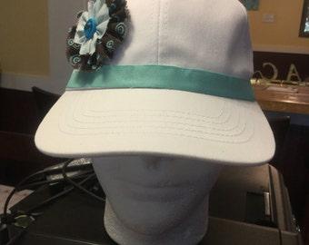 Handmade woman's/girls sparkly mint green/brown white baseball hat