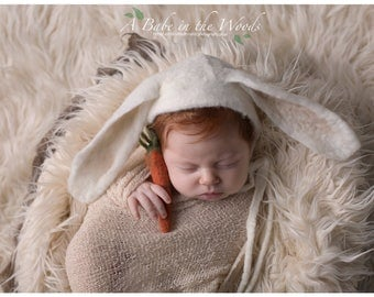 Free Shipping! Newborn Felted Bunny Bonnet and Carrot set-Free Shipping