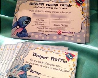 Cute Lilo & Stitch Baby Shower invitations