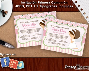 Invitation first communion Jpeg, Pptx + 2 fonts