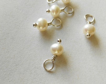 4.5~5mm Pearl Charm, one piece,potato shape fresh water Pearl charm , Silver jewelry pendant