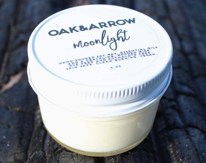 MOONLIGHT//Soy Wax Wood Wick Candle//Hand Poured Soy Candle//4oz