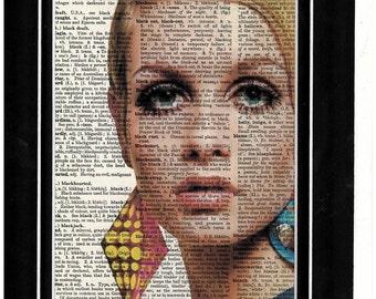 Twiggy 1970s vintage dictionary art print262