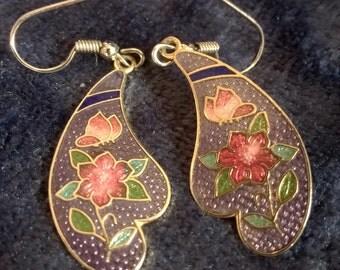 Cloisonne Earrings, Vintage Earrings, Cloisonne Jewelry, Pierced Earrings, Hibiscus and Butterflies.