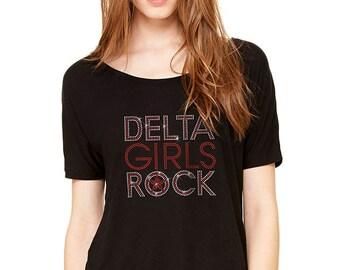 Delta Girls Rock Rhinestones Slouchy Tee