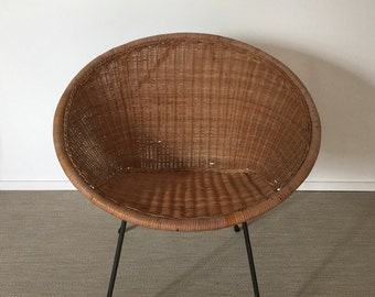 RESERVED for Cheni! Mid century 60s Chair from basket rattan wicker chair