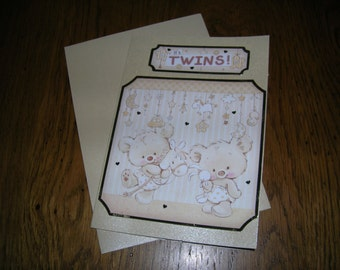 Hand crafted new born - TWINS - Congratulations card - Size 11cm x 15cm.