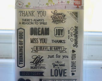 20 pc Clear stamp set I Thankyou dream love life clear stamps set I Sentiment stamps I Scrapbooking stamps I Card making stamps