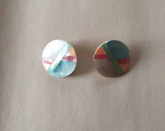 mother of pearl inlay earrings | minimalist pastel circle earrings