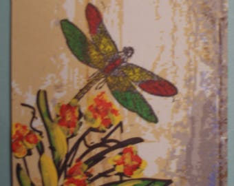 """ACEO DRAGONFLY ARTIST  Trading Card 2 1/2"""" x 3 1/2"""" Mixed Media"""