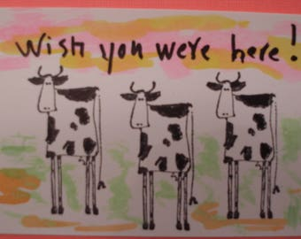"ACEO COWS ARTIST Trading Card Wish You Were Here 2 1/2""x3 1/2"""