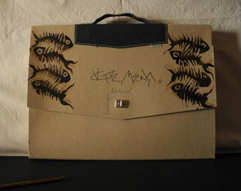 Hand-painted recycled cardboard Briefcase