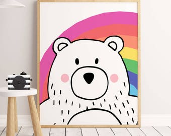 Rainbow Wall Art, SALE PRINT, Rainbow Print, Printable Nursery Art, Childrens Art, bear Printable, Scandanavian Art, Modern Nursery, bear AP