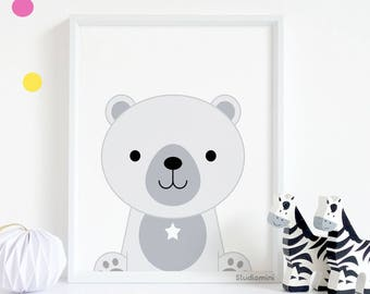 Polar bear nursery print, 50% OFF,  polar bear print polar bear nursery monochrome nursery decor black and white nursery print nursery print