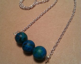 Blue-green Beaded Bar Necklace