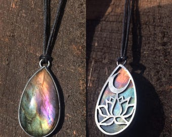 RESERVED Rainbow Labradorite Oxidized Sterling Silver Pendant 'Sunset Moonrise'