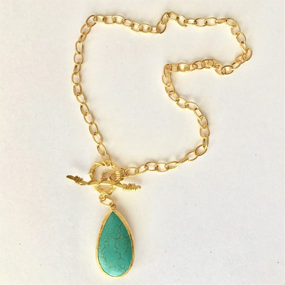 """Turquoise Pendant Necklace, Oval LinkTexture Chain , Toggle Texture Clasp, 22K Gold Plated Chain, 24K Gold Plated Clasp, 21"""" Long"""
