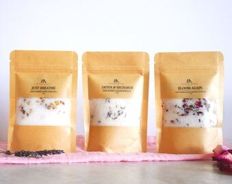 Bath salt samples cloth Bath Salts samples bath salt gifts for her Detox Bath Soak Rose bath salts Lavender Vegan Bath bath salts with cloth