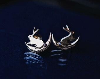 Moon Bunny Earrings