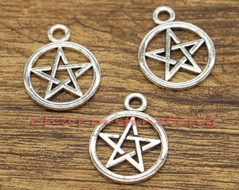20pcs Pentagram Charms Five-pointed Star Charms Antique Silver Tone 20x25mm cf0376