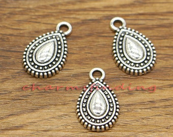 50pcs Teardrop Charms Metal Charms Earring Drops Antique Silver Tone 10x17mm cf2799