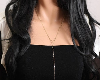 Lariat Necklace, 14k Gold Necklace, Delicate Y Necklace, Dainty Y Necklace, Dainty Lariat Necklace, Simple Necklace, Minimalist Necklace.