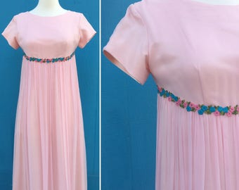 1960s maxi dress/pink floral embroidery/empire waist/valley of the dolls/size xs