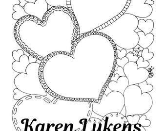"""Valentine's- """"Heart Thoughts"""", 1 Adult Coloring Book Page, Instant Download, Valentine's"""