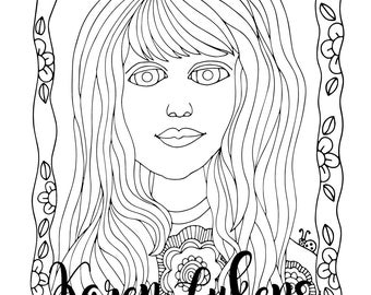 Lisa, 1 Adult Coloring Book Page, Printable Instant Download