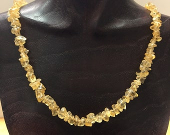 Vintage Natural Rough Citrine Necklace Golden Yellow / Orange Stones