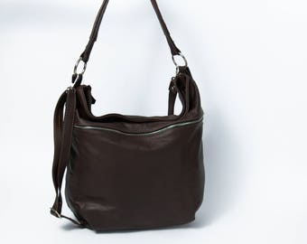 LEATHER Handbag, HOBO Bag, Crossbody Bag - Everyday Leather Shoulder Bag, Handmade. Handbag. Color: Dark Brown